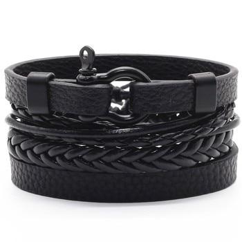 Infinity Black Beads Charm Link Alloy Handmade Woven Men Leather Bracelets Women Vintage Bangle Male Jewelry Accessories 1