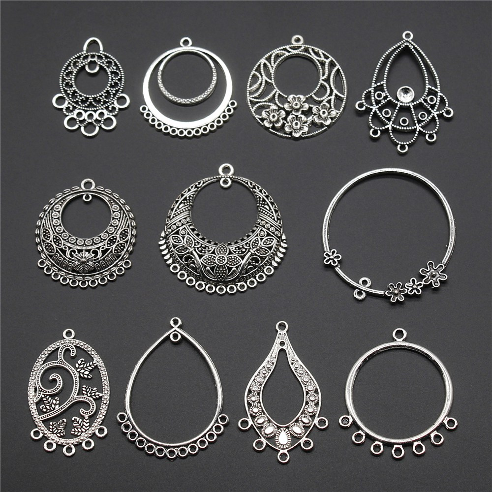5pcs Earring Connector Charms Antique Silver Color DIY Jewelry Accessories Charms Earring Connector Jewelry Findings