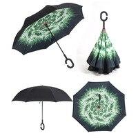 Pongee Alüminyum Alaşım Tüp Rüzgar Geçirmez Ters Şemsiye Yağmur Kadınlar Şemsiye Güneş Koruma Çocuk Ters Womens Uzun