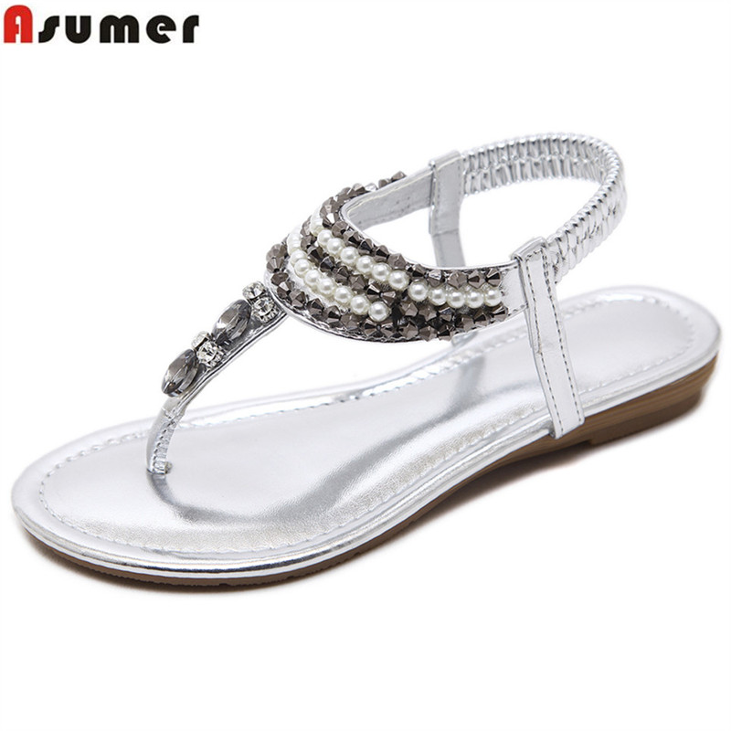 ASUMER 2018 summer new arrival ladies shoes casual crystal simple comfortable silver gold women flat sandals