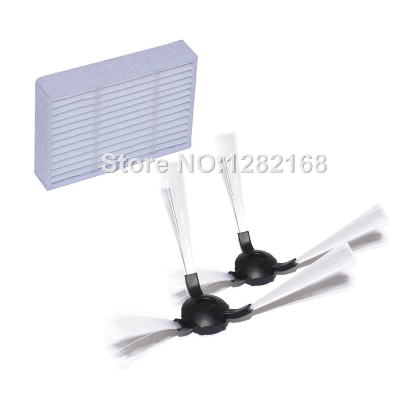 2 pieces Side Brush and 2 pieces Robot HEPA filter Accessory for RolliBot BL618 Robotic Vacuum Cleaner Parts 1 piece robot brush motor belt for neato botvac series 70e 75 80 85 robotic vacuum cleaner brush drive parts