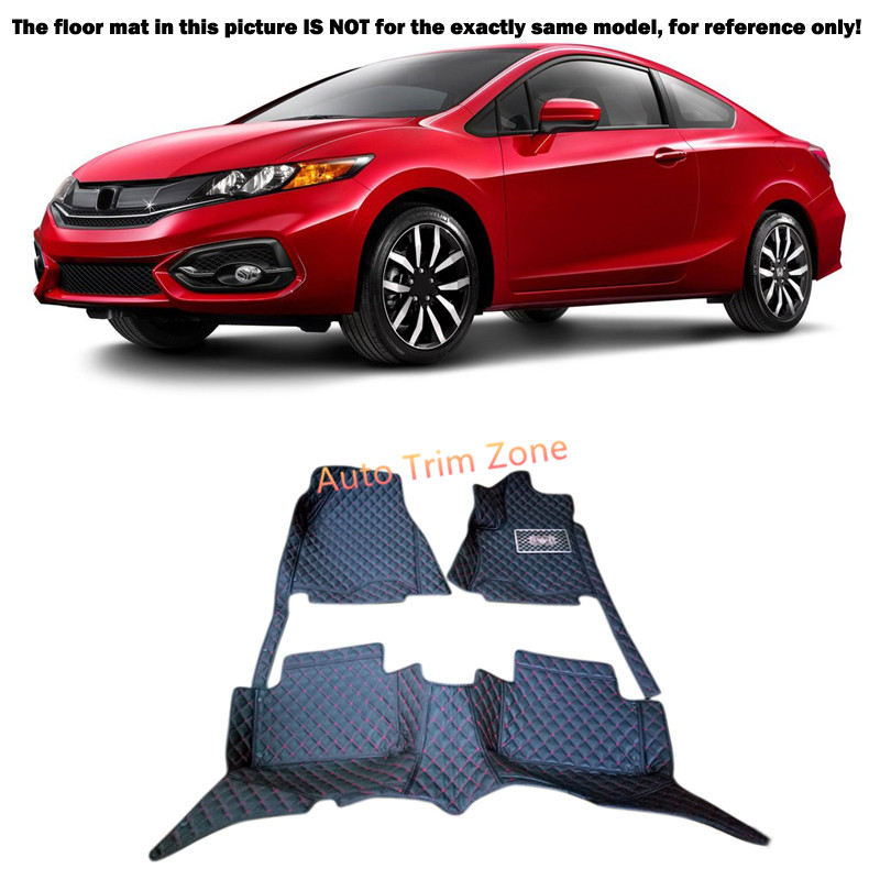 Black Interior Leather Floor Mats & Carpets Foot Pads Protector For Honda Civic 2012-2015