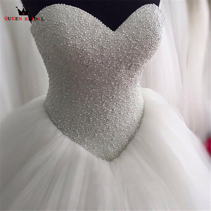 Custom Made Ball Gown Sweetheart Beaded Pearls Tulle Fluffy Romantic Long Wedding Dresses Wedding Gown 100% Real Photos WS60M