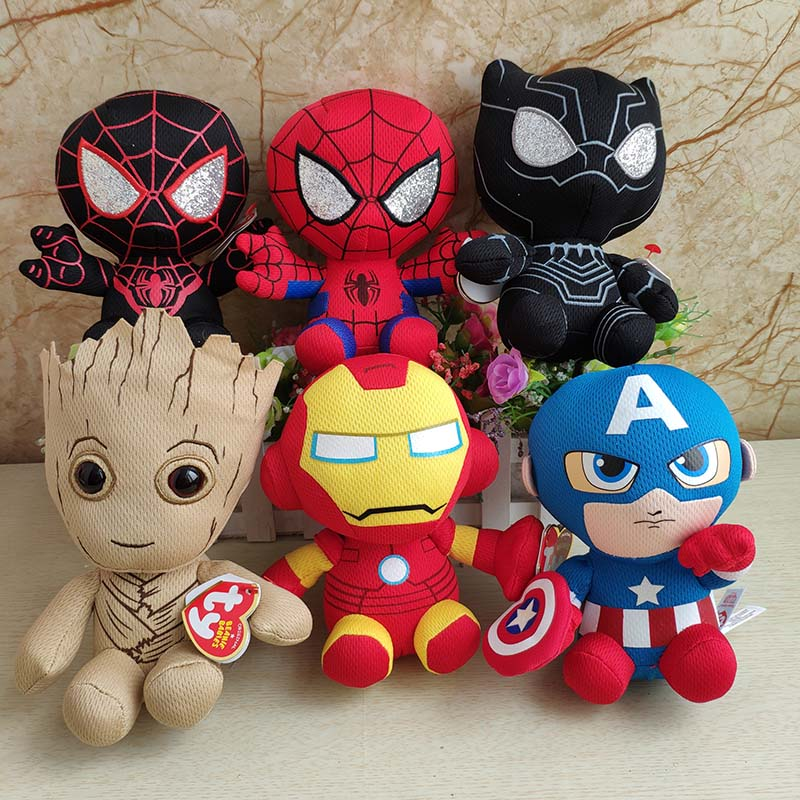 Iron man Spider man Captain American Dead Pool Plush Toy Baby 15 cm Kids Birthday Black panther Gift Super Heroes Figure image