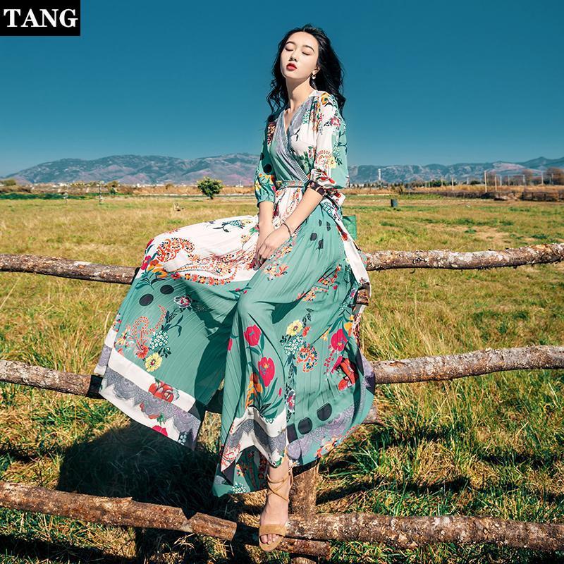 Tang femmes été imprimé Floral longue Maxi robe 2019 Boho plage robe demi manches col en v soirée grande taille robe de soirée