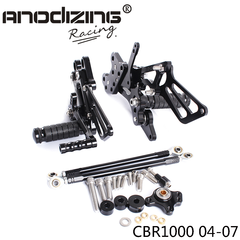 ФОТО Full CNC aluminum Motorcycle Rearsets Rear Set For HONDA CBR1000RR 2004-2007