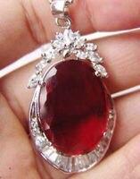 Gros Exquis fille gemme Rouge Gem pierre Pendentif et Collier De Mariée large ailes 925 Argent bouton upWoman de Bijoux