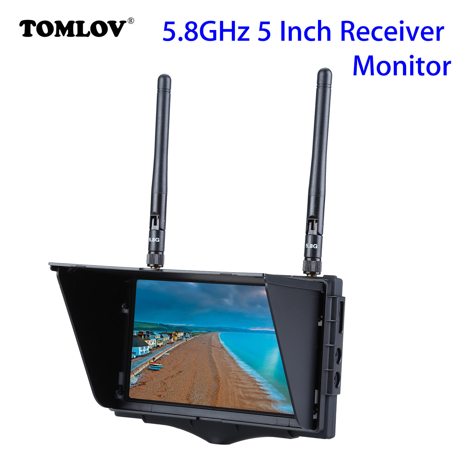 TOMLOV FX508 5.8GHz High Brightness 5 LCD Monitor Diversity Receiver With DVR Function 800x480 Pixels 40CH For RC Quadcopter pv 5 8 ghz 40ch rd40 diversity receiver with a v and power cables