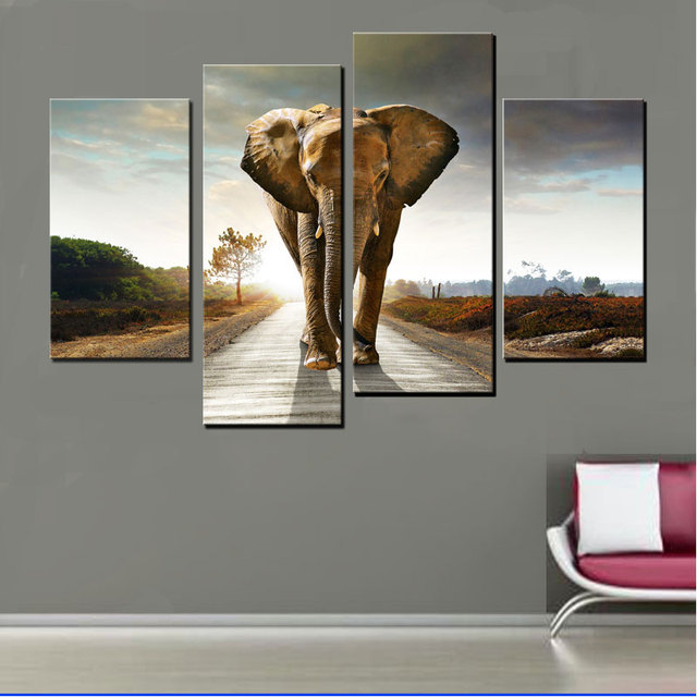 4 Panel Elephant Canvas Painting Home Decoration Living Room Print Wall Art Picture Modern Prints Frameless