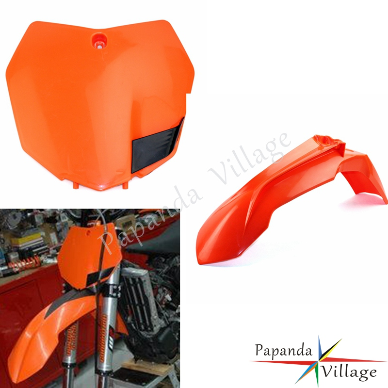 Orange Motorcycle Front Fender Mudguard Front Number Plate Enduro for KTM SX SX-F XC XC-W EXC EXC-F 300 <font><b>450</b></font> 2013-2015 Custom image