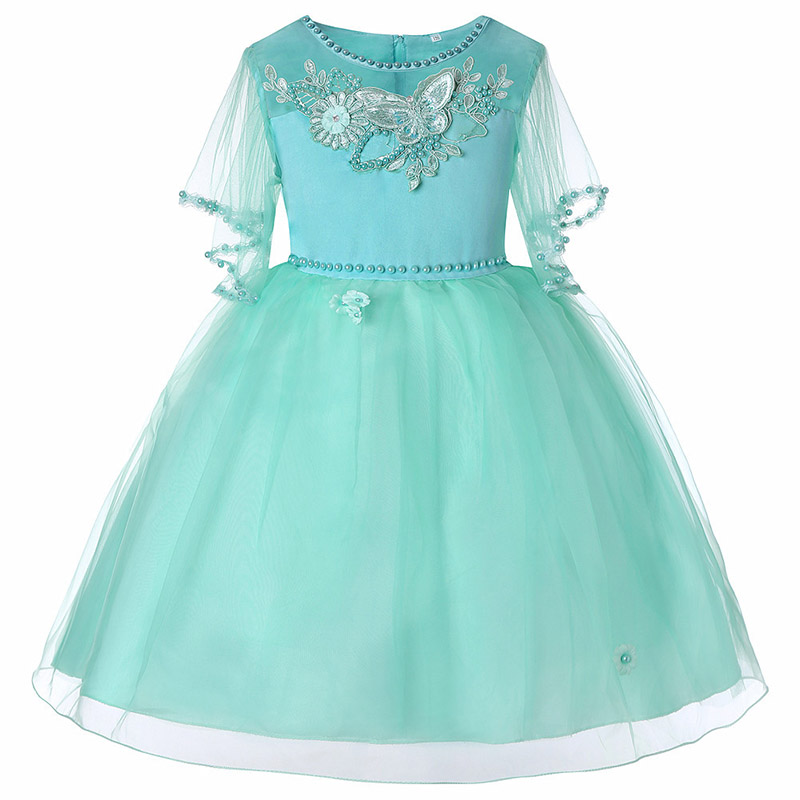 Chiffon children clothing dot printed mesh   flower     girl     dresses   for wedding clothes first communion princess   dress   baby costume