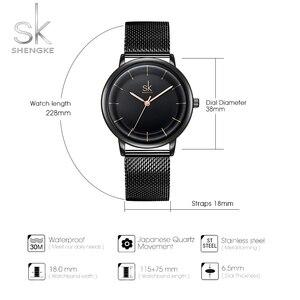 Image 4 - Sk relógios de couro moda simples relógios de quartzo para reloj mujer senhoras relógio de pulso shengke relogio feminino
