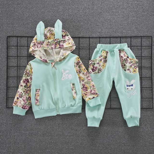 2-Piece Cute Rabbit Design Hoodie with Long Pants for Baby and Toddler Girl