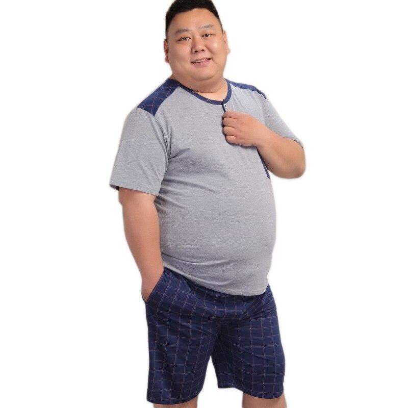 Reasonable 5xl Blue Short Pajamas For Men Pyjamas Sets Summer 100% Cotton Shorts Sexy Sleepwear Pijamas Hombre Homens Xxxxxl Plus Size Men's Sleep & Lounge