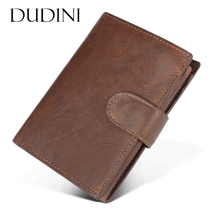 [DUDINI] Men RFID Business Card Holder Wallet Genuine Leather Short Men Wallet Vintage Male Cowhide Leather Money Bag Coin Purse p kuone business men purse famous luxury brand coin credit card holder male travel long wallet passport cover leather money bag