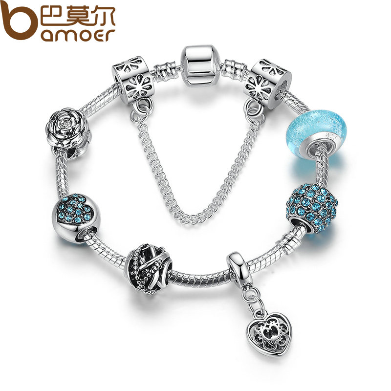 BAMOER Hot Sale Vintage Bracelet Silver Color Flower Bracelets with Glass Beads Girl Bracelets Accessories PA1886 vintage flower crucifix bracelet with ring
