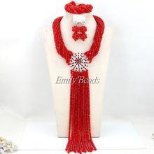 Kostium afryki zestaw biżuterii ślubnej nigerii kryształowe koraliki naszyjniki biżuteria ustaw Indian zestaw biżuterii ślubnej darmowa wysyłka AMJ329 tanie tanio Zestawy biżuterii Moda PLANT Necklace Bracelet Earrings miss mousaie Zestawy biżuterii dla nowożeńców TRENDY Ślub