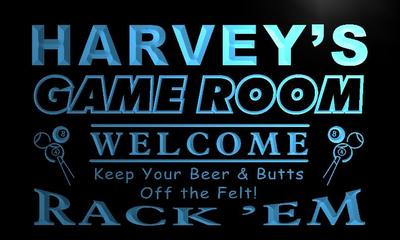 x0222-tm Harveys Pool Game Room Bar Custom Personalized Name Neon Sign Wholesale Dropshipping On/Off Switch 7 Colors DHL