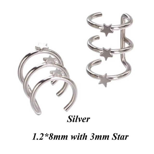 Stainless Steel Double and Triple Hoop Ear Cuff Clip On Earring 5