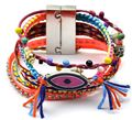 Hot Summer Style European multi-national wind bohemian Brazilian Bracelet woven multi-color mixed magnet buckle eye bracelet