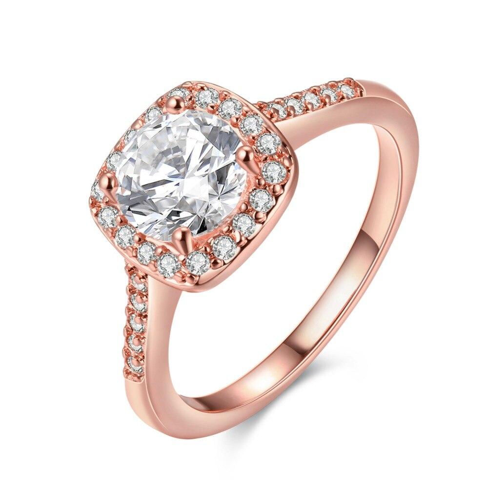 Beautiful Elegant pretty fashion Wedding finger ring gold silver 3 color women Cubic Zirconia stone crystal Lady Ring jewelry