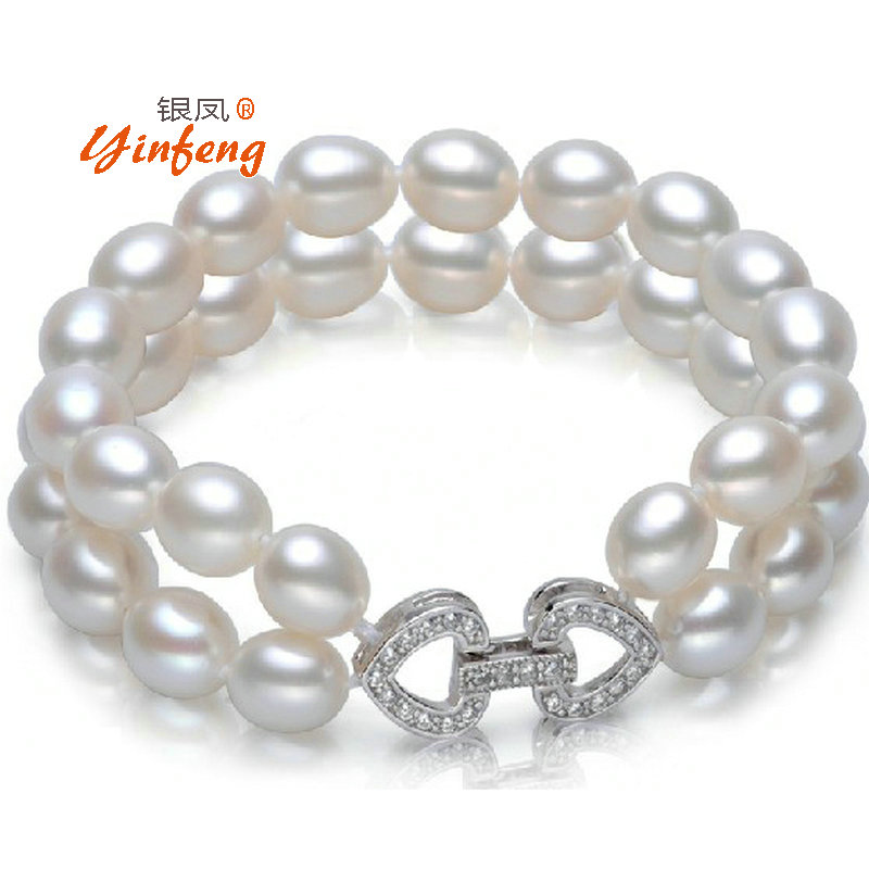 100 Natural Real Rice shape Freshwater Pearl Bracelet and Bangle for Wedding jewelry