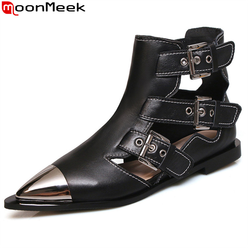 MoonMeek fashion summer ankle boots for women casual genuine leather shoes women flat with ladies shoes pointed toe women shoes MoonMeek fashion summer ankle boots for women casual genuine leather shoes women flat with ladies shoes pointed toe women shoes