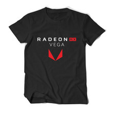 PC graph process Gamer AMD Radeon RX Vega T shirt Geek Men tees cotton casual camiseta ryzen clothing(China)