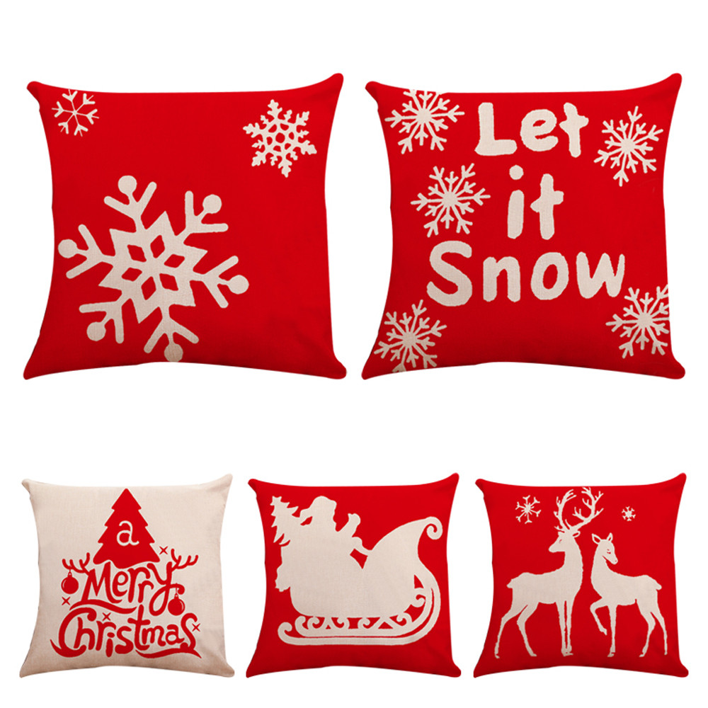 Christmas Xmas Linen Cushion Cover Throw Pillow Case Home: Christmas Pillow Covers Embroidery Throw Pillow Cases For