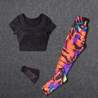 Women Yoga Sets Sport Suit Fitness Sport Wear Running Leggings Top T shirt+Yoga Socks+Workout Gym Pants Lose Weight Sportswear