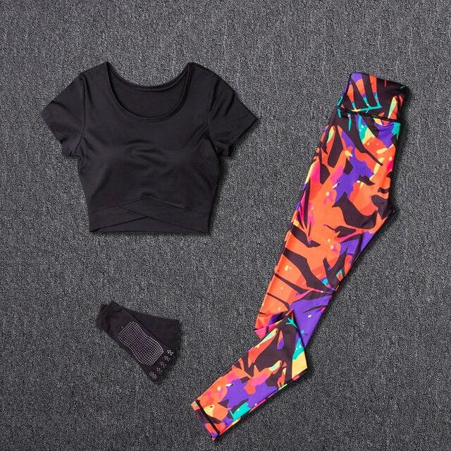 Sportswear Frauen Yoga 2 Stück Set Trainingsanzug Fitness Sport Hosen Laufen Outdoor Top Gym Kleidung Anzüge Brust Pad Sport Tragen