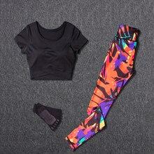 цена на Women Yoga Sets Sport Suit Fitness Sport Wear Running Leggings Top T-shirt+Yoga Socks+Workout Gym Pants Lose Weight Sportswear