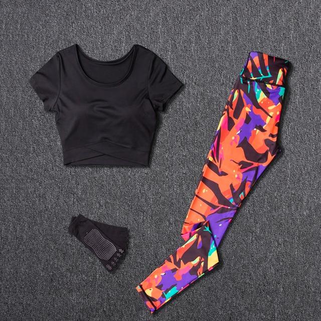 $ US $21.44 Women Yoga Sets Sport Suit Fitness Sport Wear Running Leggings Top T-shirt+Yoga Socks+Workout Gym Pants Lose Weight Sportswear
