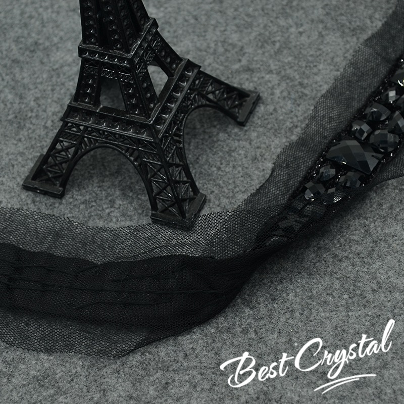 1Yard Handicraft Beaded Lace Trim Black Rhinestones Lace Tape Embroidered  Lace Ribbon Trim Costume Applique Sewing on Trim 45mm-in Lace from Home    Garden ... 76f72af86aa4
