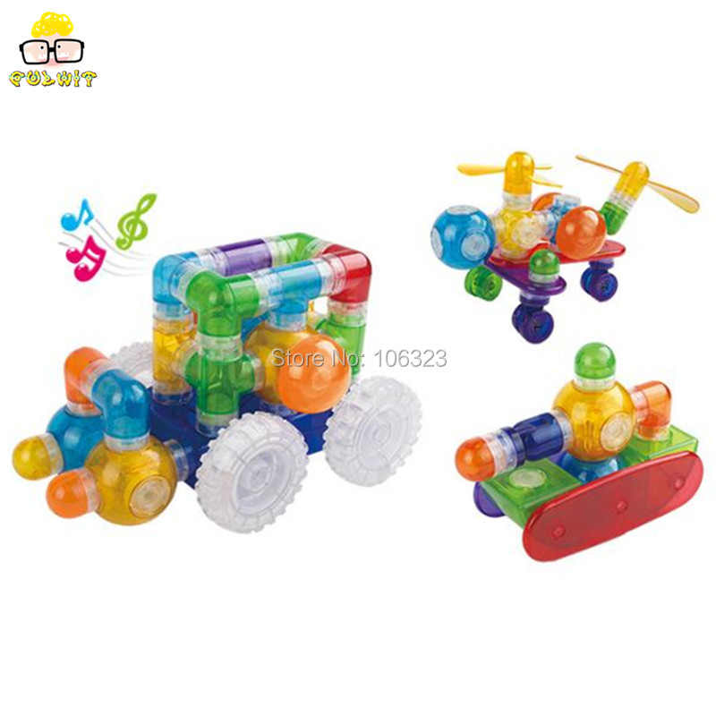 ФОТО Hot Sale 3-7 year Children Best Gift, 69 pcs Building Set,Deluxe Magnet Blocks Toy,Magnetic Rocking Car, Music Light Modern Auto