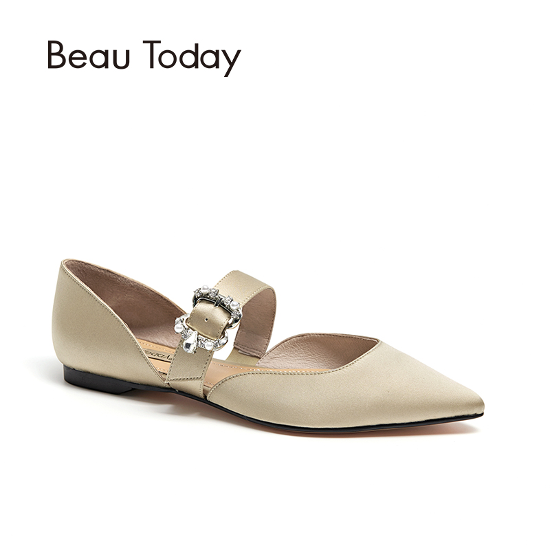 BeauToday Women Flats Sandals Buckle Strap Pointed Toe Cover Heel Crystal Decorated Lady Summer D'orsay Flats Handmade 30060