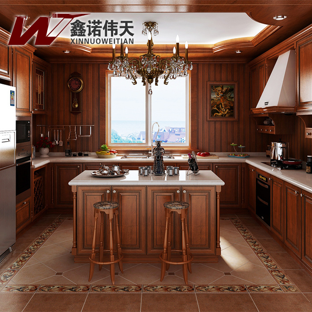 Moda clásica de madera maciza muebles de cocina completos ...