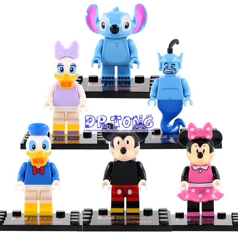 DR.TONG Cartoon Mini Mickey Mouse Minnie Donald Duck Daisy Stitch Lamp Genie Figures Building Blocks Bricks Children Toys D892