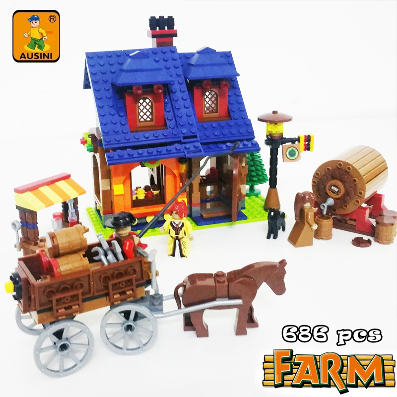 A Model Compatible with Lego A28704 686pcs Happy Farm Models Building Kits Blocks Toys Hobby Hobbies For Boys Girls a models building toy compatible with lego a28002 838pcs happy farm blocks toys hobbies for boys girls model building kits