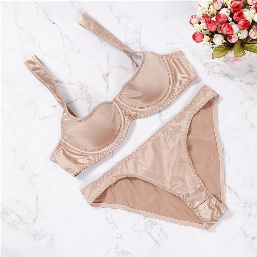 2018 France women underwear set sexy lace bras push-up bra set comfortable brassiere solid color Lingerie 3/4 Cup skin