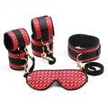 Smspade red fetish 4 pieces/lot PU bondage restraints kit, wristcuffs footcuffs slave blindfold master collar restraints set