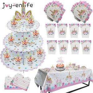 Image 2 - Unicorn Birthday Party Decors Disposable Tableware Kit Unicorn Balloon Cups Plates Napkin Kids Birthday Unicornio Party Supplies
