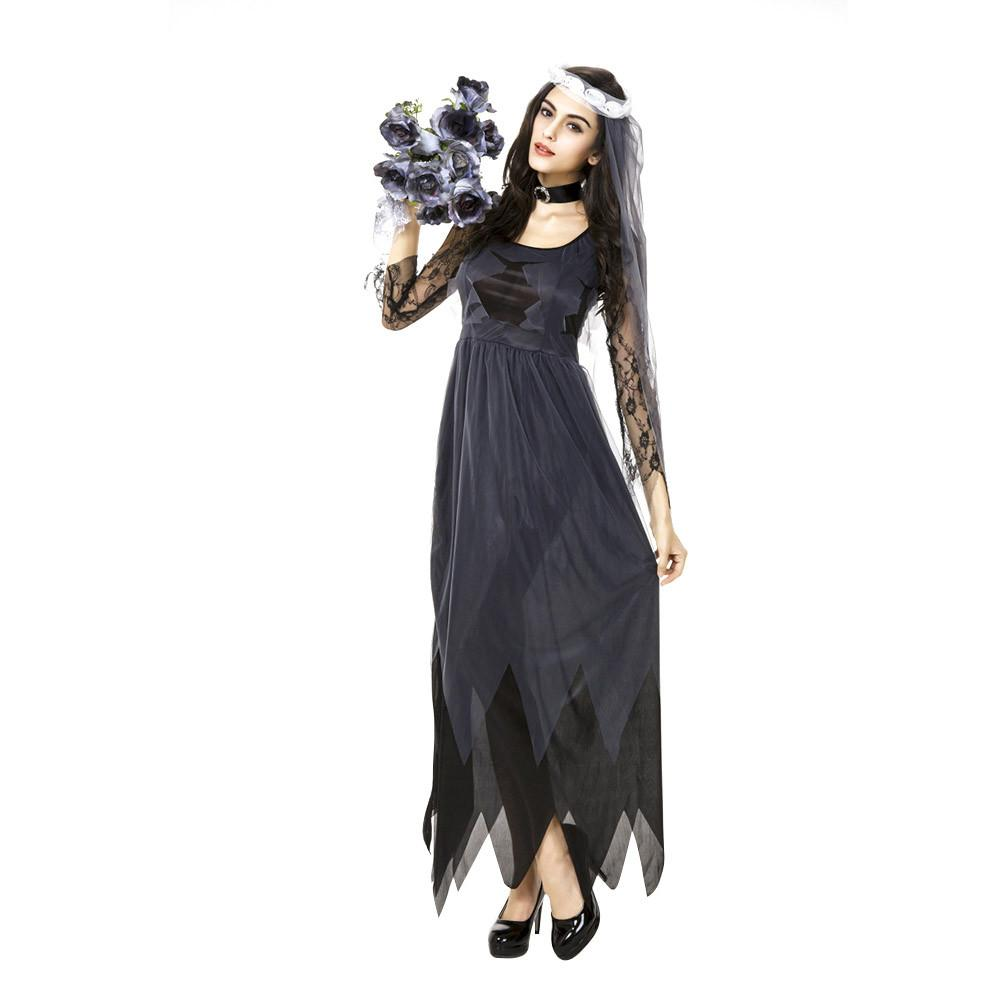 ISHINE Lace Edge Gauze Ghost Bridal Gown Women's Halloween Cosplay Clothes Holiday Party Role Playing Costume