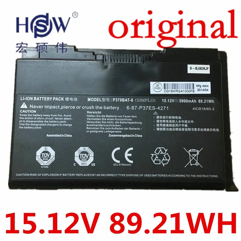 HSW 15.12V 89.21WH battery 6-87-W370S-427 6-87-W370S-4271 FOR CLEVO K590S K790S NEXOC G508II NP6350 NP6370 p370em W350ET W350ETQ original rechargeable clevo w370bat 8 li ion battery 6 87 w370s 4271 6 87 w37ss 427 k590s laptop battery 14 8v 5200mah 76 96wh