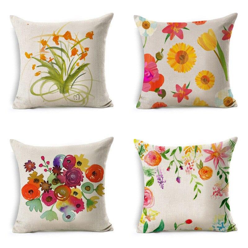 Ouneed Flowers Linen Throw Pillow Case Decorative Pillows For Sofa Car Seat Cushion Cover 45x45cm Home Decor Pillowcase