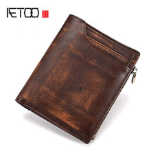 AETOO Vegetable tanned cowhide men's wallet Short section Hand-painted vintage leather coin pockets layered leather vertical bag