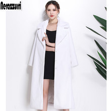 Nerazzurri Long faux fur coat women winter turn-down collar white rabbit fur overcoat thicken warm plus size outwear 4xl 5xl 6xl(China)