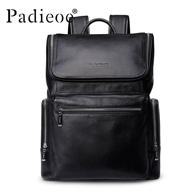 Padieoe 2016 New Fashion Backpack Genuine Leather Youth Black Luxury Designer Rucksack Unisex Daypack Mochila Masculina