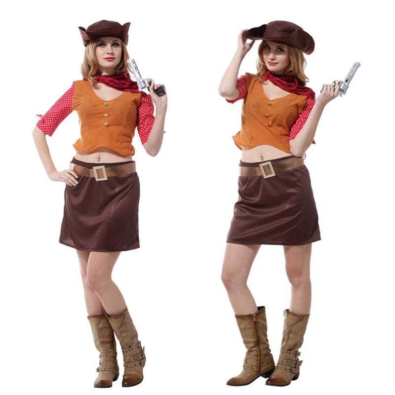 Sexy Woman Halloween cowboy Cosplay Cowgirl Role play Costumes Purim Carnival Nightclub Masquerade party Festival parade dress