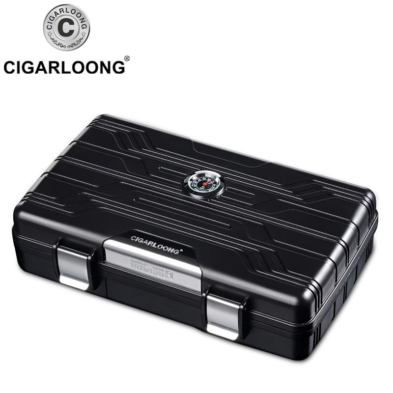 Gadget Super léger haut de gamme Excellent noir et argenté LDPE Portable étui à cigares voyage avec boîte-cadeau noire CH-3001